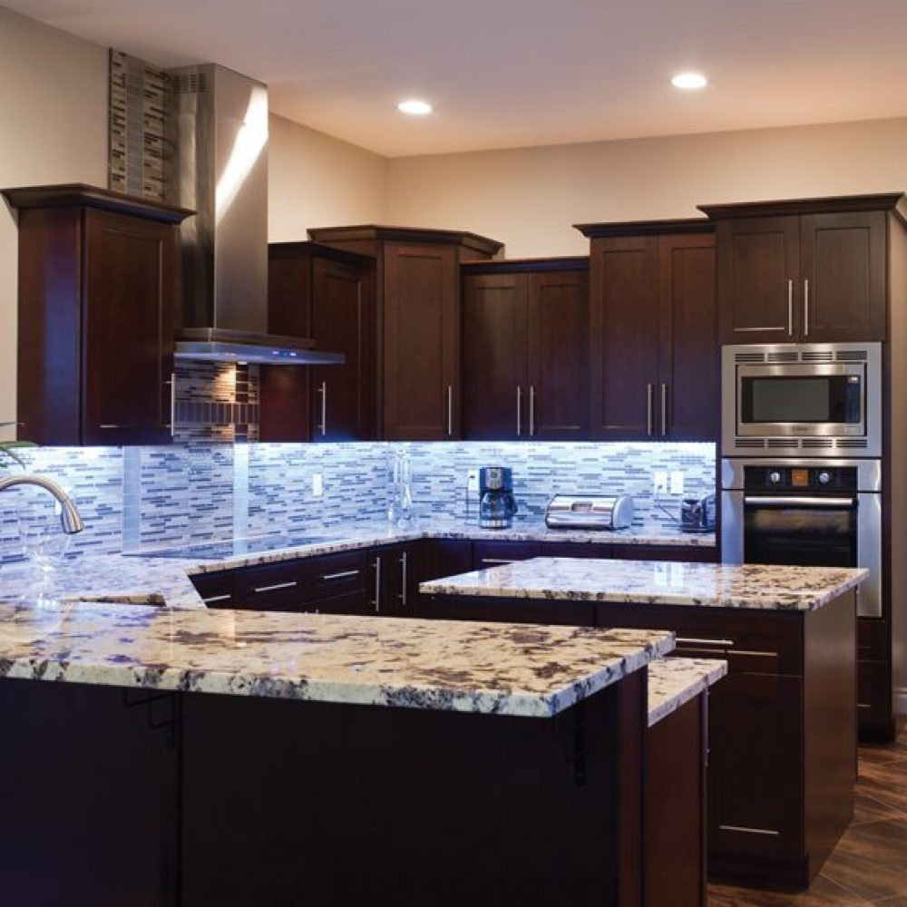 Espresso shaker cabinets avie home Kitchen and bath design center lake hopatcong nj